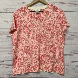Talbots Womens Casual Top Coral Paint Stroke Scoop